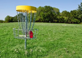 Disc golf basket with discs